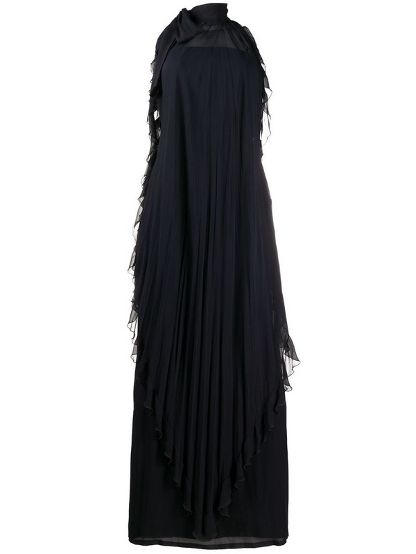 Valentino Pre-Owned halterneck ruffle dress in blue
