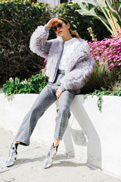 pants,plaid,jamie chung,blogger,fur,fur jacket,faux fur jacket,faux fur