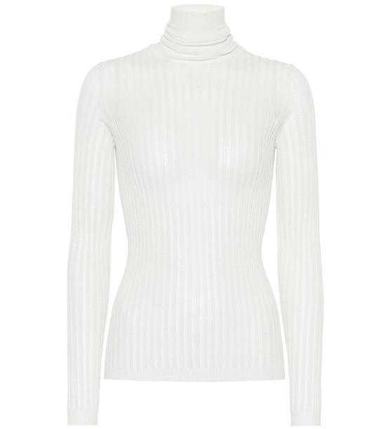 Bottega Veneta Cotton-blend turtleneck sweater in white