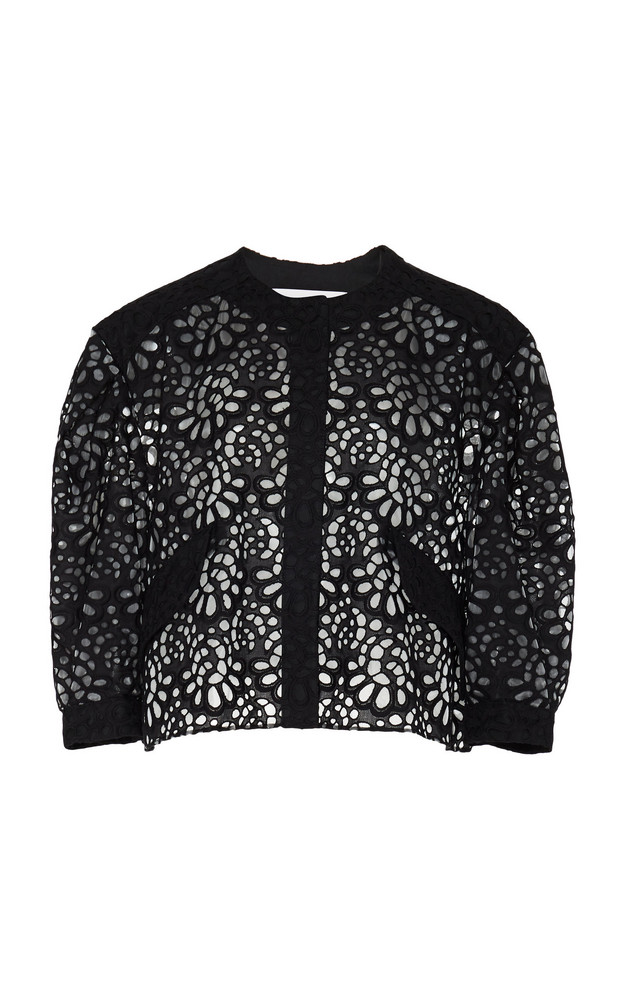 Carolina Herrera Broderie Anglaise Cotton Jacket in black