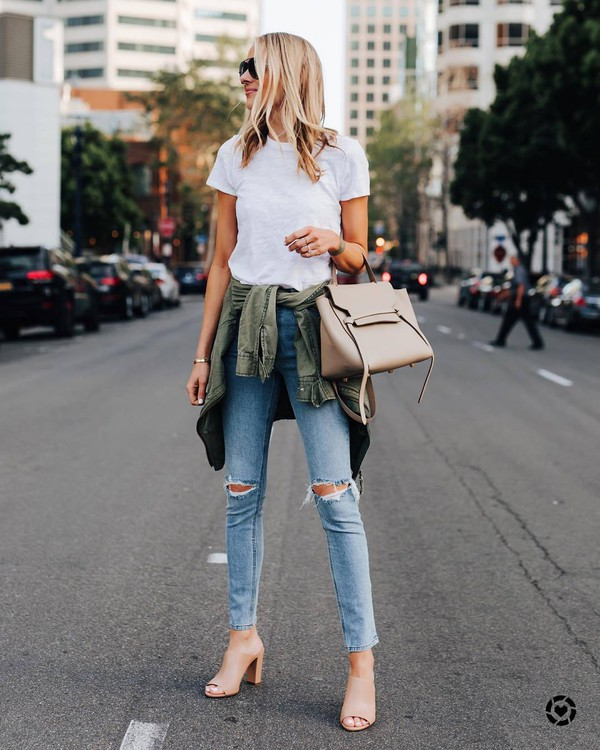 jeans skinny jeans ripped jeans jacket sandals white t-shirt bag