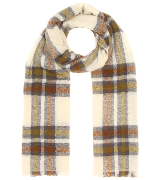 Isabel Marant Suzanne checked wool-blend scarf in brown