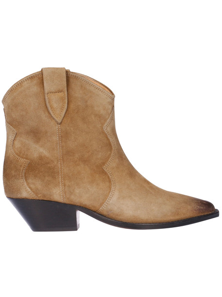Isabel Marant Velvet Washed Ankle Boots in taupe