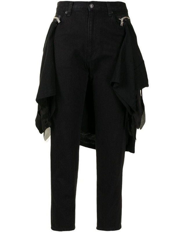 Undercover detachable panel cropped trousers in black