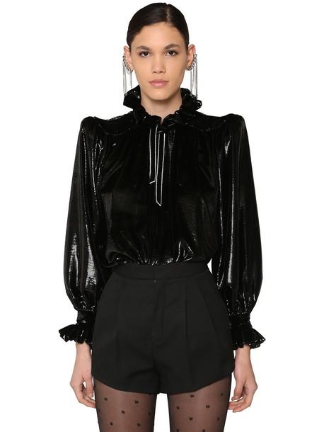 SAINT LAURENT Ruffled Velvet Lamé Shirt in black