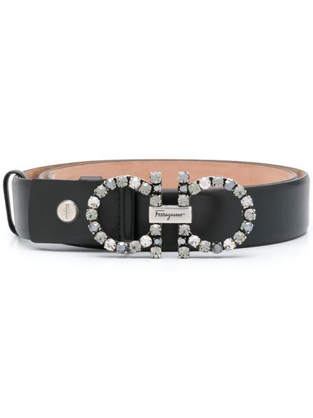 Salvatore Ferragamo stone embellished belt in black