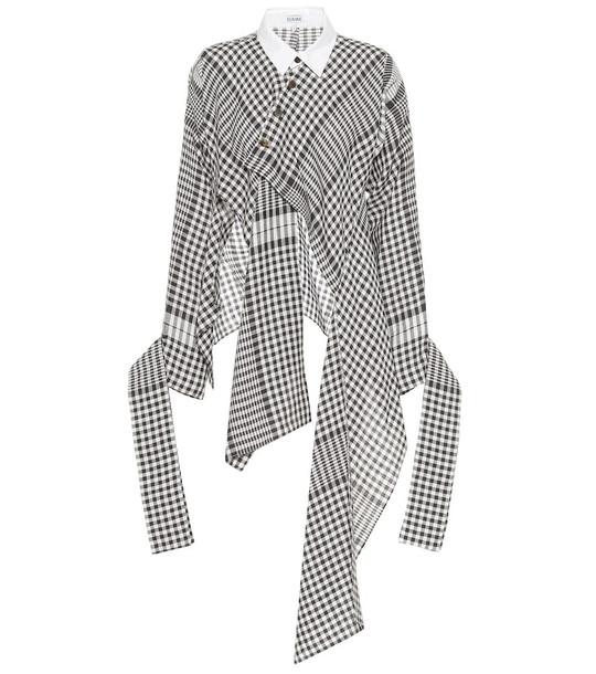 Loewe Checked linen shirt in black