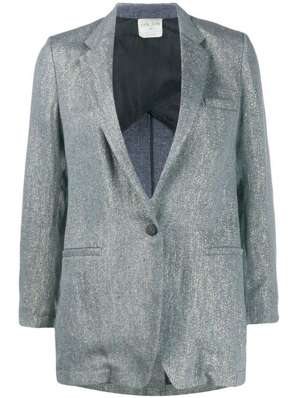 Forte Forte metallic single-breasted blazer in blue