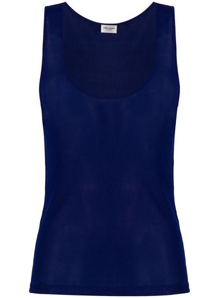 Saint Laurent scoop neck tank top in blue