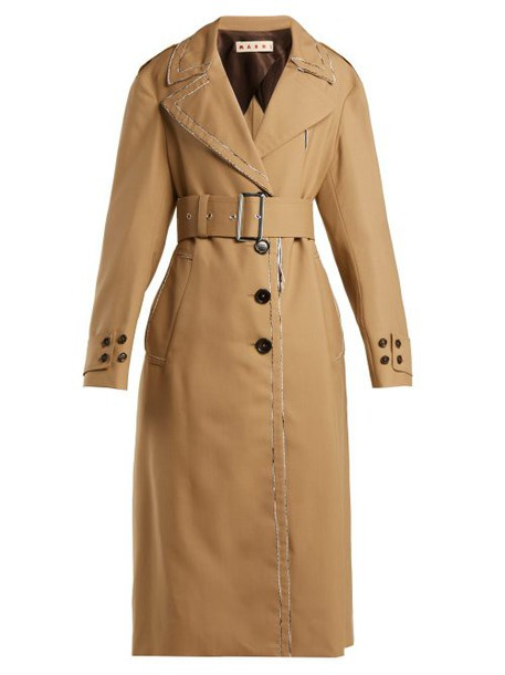Marni - Belted Wool Trench Coat - Womens - Beige Multi
