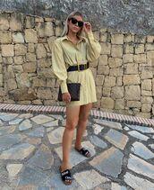 shoes,slide shoes,chloe,shirt dress,long sleeve dress,belt,bag