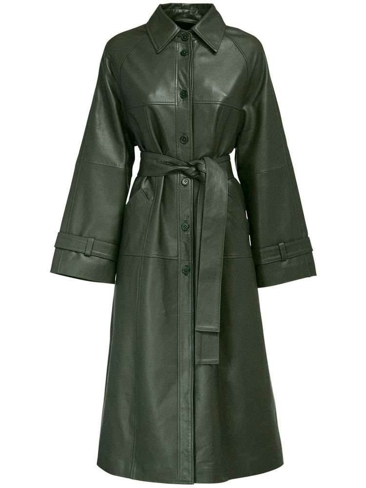 REMAIN Romy Leather Trench Coat W/ Belt in green