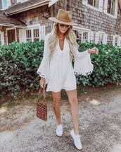 dress,white dress,mini dress,long sleeve dress,bag,hat