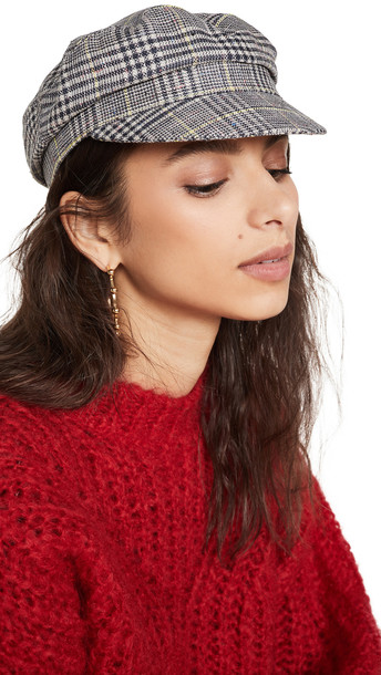 Isabel Marant Evie Newsboy Hat in grey / yellow