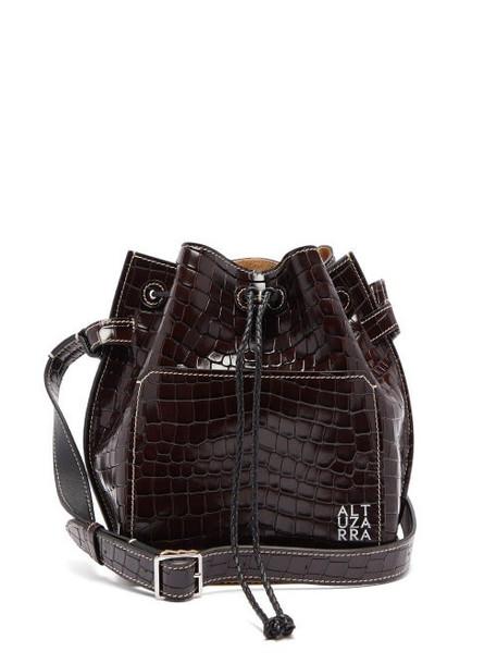 Altuzarra - Espadrille Crocodille Effect Leather Bucket Bag - Womens - Dark Brown