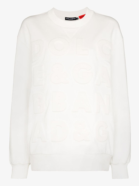 Dolce & Gabbana embossed logo cotton sweater in white