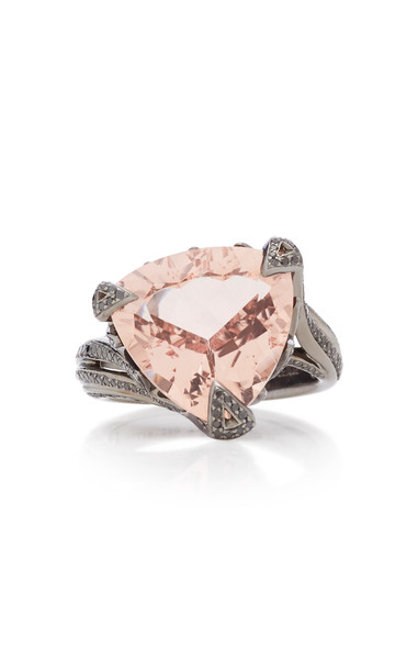Akillis Rhodium-Plated 18K Gold Morganite And Diamond Ring in pink