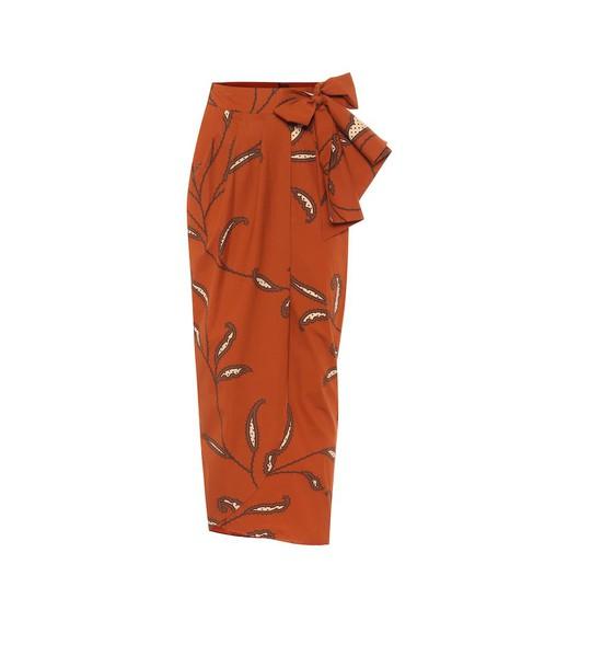Johanna Ortiz Eco Warrior cotton-poplin wrap skirt in brown