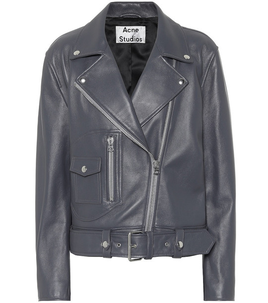 Acne Studios Leather biker jacket in grey