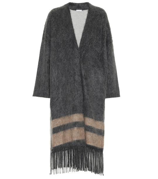 Brunello Cucinelli Fringed wool-blend coat in grey