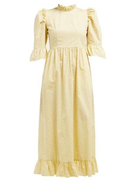 Batsheva - Kate Floral Print Cotton Dress - Womens - Yellow