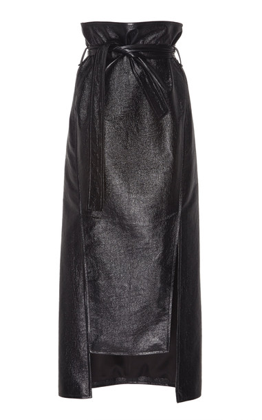 A.W.A.K.E. MODE Belted Faux Leather Midi Skirt Size: 38 in black