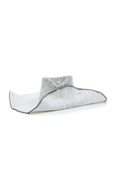 Clyde Wide-Brimmed Straw Sun Hat in black / white