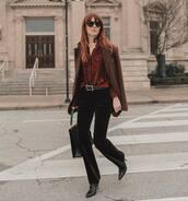 pants,flare pants,black velvet pants,black boots,black bag,black belt,shirt,blazer