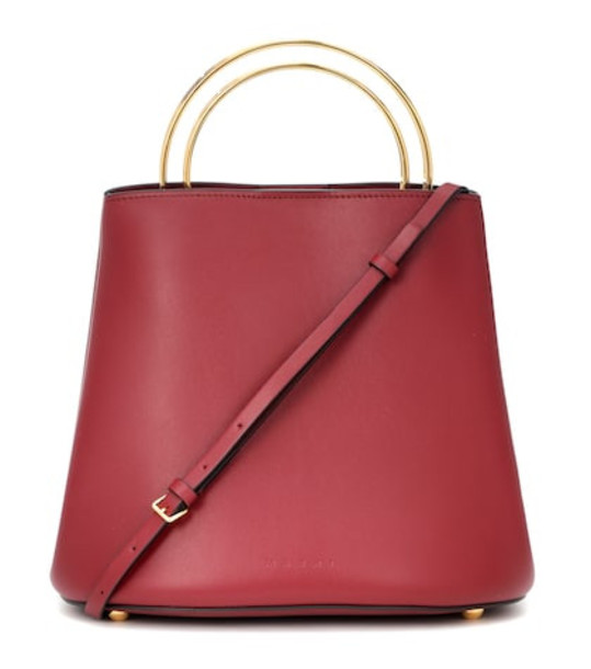 Marni Pannier leather bucket bag in red