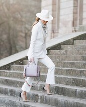 jacket,white blazer,double breasted,white pants,flare pants,pumps,bag,grey sweater,turtleneck sweater,hat,classy