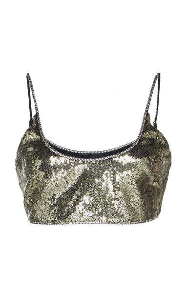 Dundas Sequined Tulle Bralette in gold