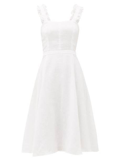 Ephemera - Bloom Ruffle-strap Flared Linen Midi Dress - Womens - Ivory