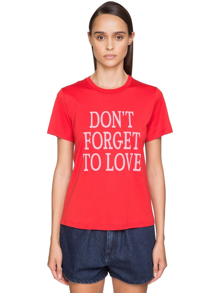 ALBERTA FERRETTI 'don't Forget To Love' Cotton T-shirt in pink / red