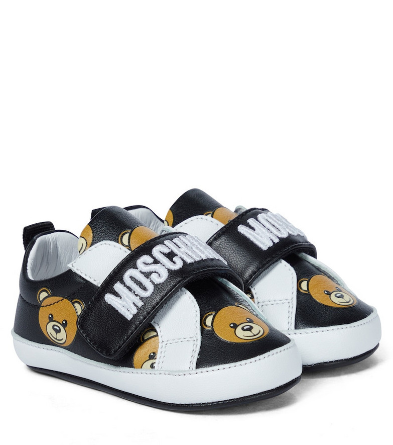 Moschino Kids Baby leather sneakers in black