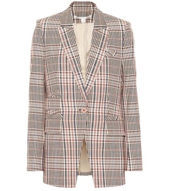 Veronica Beard Fuller plaid stretch cotton blazer in brown