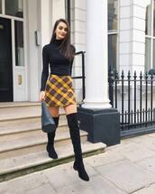 shoes,over the knee boots,black boots,handbag,black bag,plaid skirt,black turtleneck top