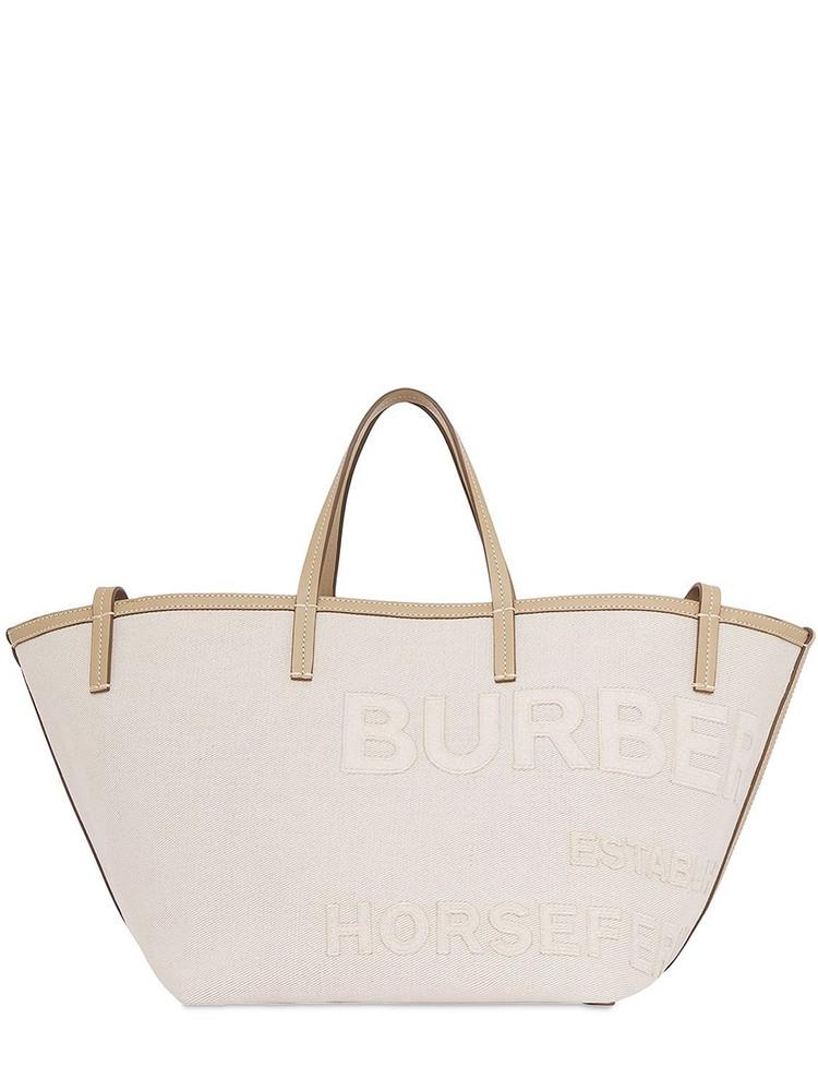 BURBERRY Mini Beach Linen & Cotton Tote Bag in ecru
