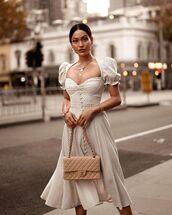 dress,midi dress,polka dots,chanel bag,white dress