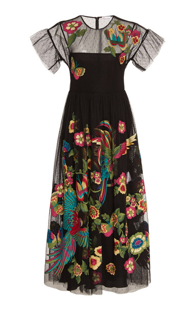 Red Valentino Bow-Detailed Floral-Embroidered Tulle Dress Size: 36 in black