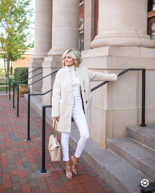 coat teddy bear coat white jeans sandal heels bag white turtleneck top
