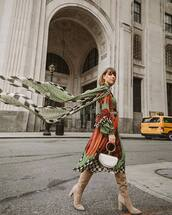 dress,midi dress,geometric,etro,knee high boots,heel boots,suede boots,handbag,chloe