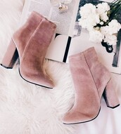 shoes,velvet,pink,ankle boots