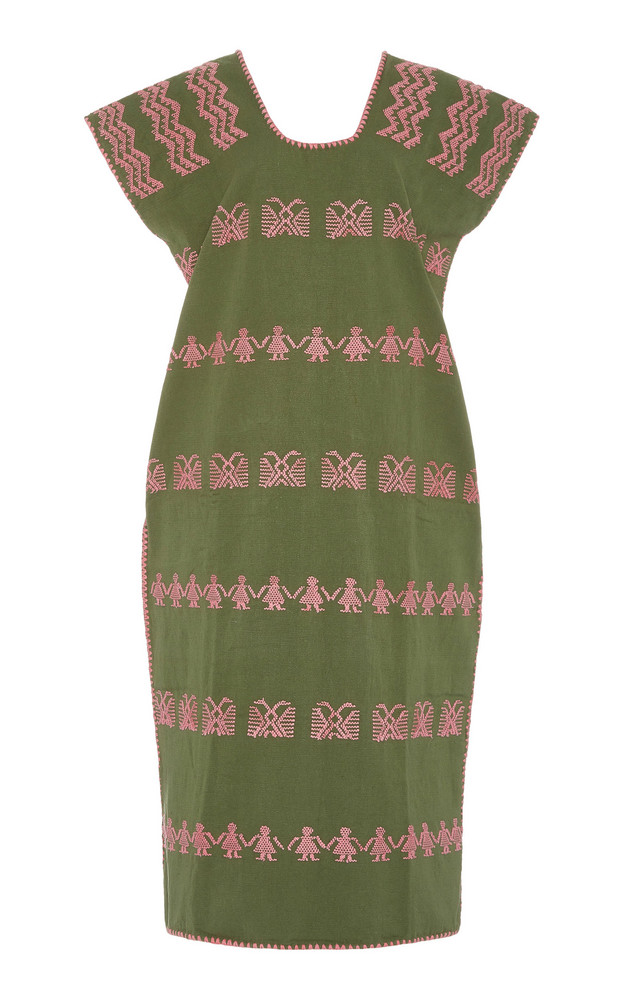 Pippa Holt Single panel khaki and pink kaftan in print