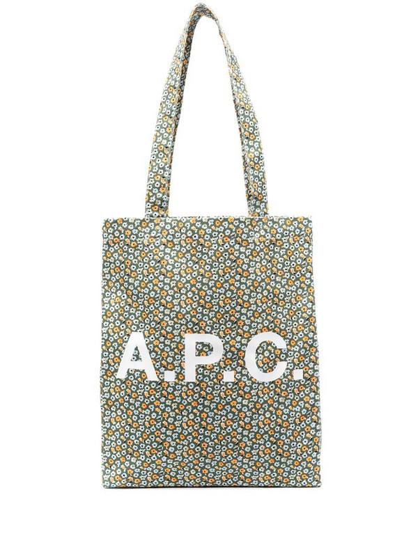 A.P.C. logo print tote bag in green