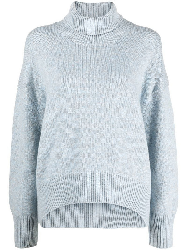 12 STOREEZ fine knit rollneck jumper in blue