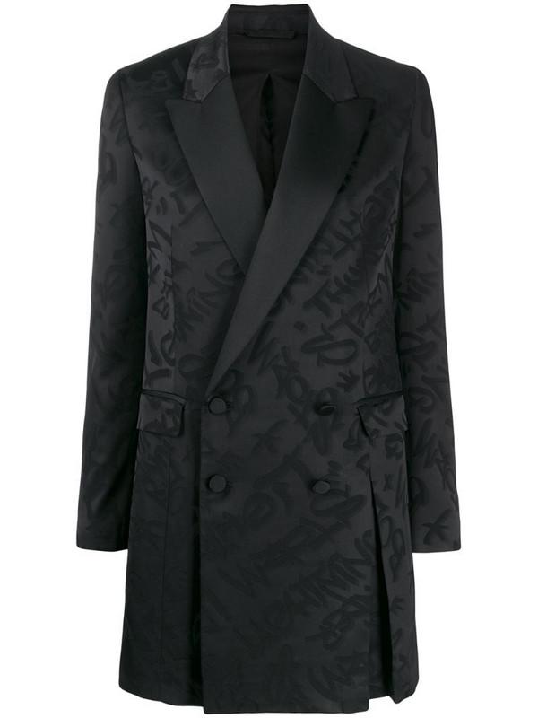 Neil Barrett graffiti short blazer dress in black