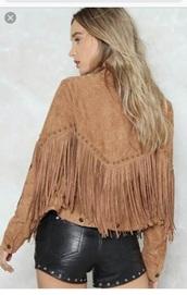 jacket,fringed jacket,brown,suede,festival