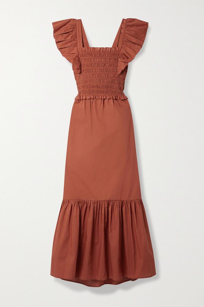SEA - Gladys Cutout Ruffled Shirred Cotton Maxi Dress - medium in red