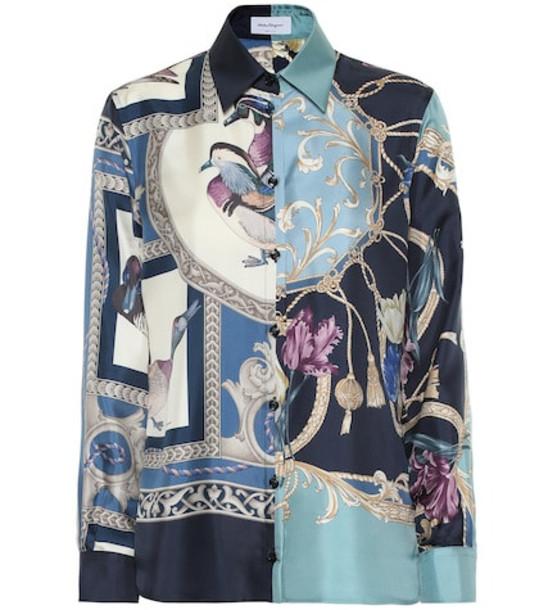 Salvatore Ferragamo Printed silk blouse in blue