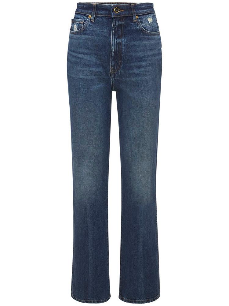 KHAITE Danielle High Waist Straight Denim Jeans in blue